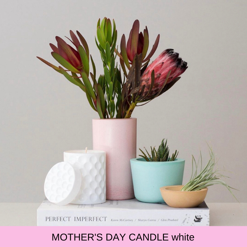 Mothers Day white candle
