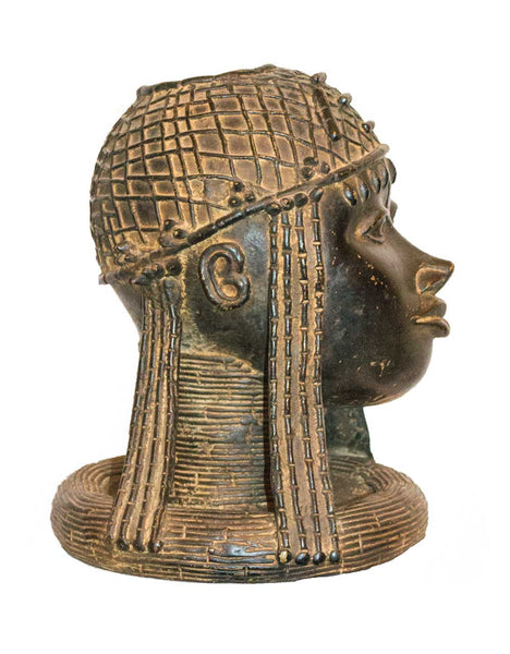 Profile view: Authentic 'Benin Woman' Carved Bronze Sculpture from Nigeria Made in 1988