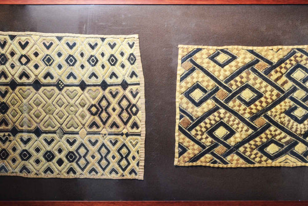 Close up: Authentic Hand Made 'Kuba Kloth Panels' Decor from Zaire Made in 1970