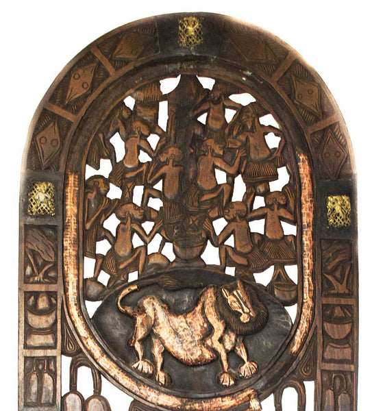 Close up of top of door: Authentic Wooden Carved Door from Cameroon Made in 1960