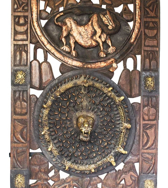 Middle section of door: Authentic Wooden Carved Door from Cameroon Made in 1960