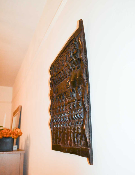 Authentic Ebony Wood Carved Door from Mali Made in 1990