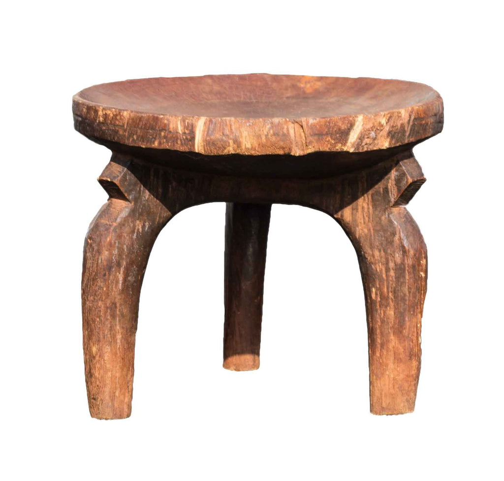 Close up view:  Authentic Hand Carved Wooden 'Senufo Stool' from the Ivory Coast Made in 1970