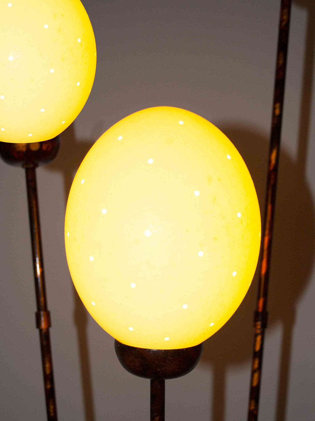 Close up lamp, 2/3 bulbs shown:  Authentic Hand Made Ostrich Egg Floor Lamp from South Africa