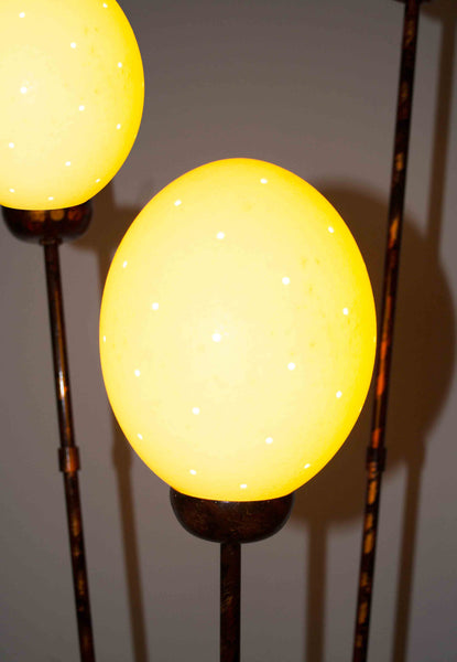 Close up lamp, 2/5 bulbs shown:  Authentic Hand Made Ostrich Egg Floor Lamp from South Africa