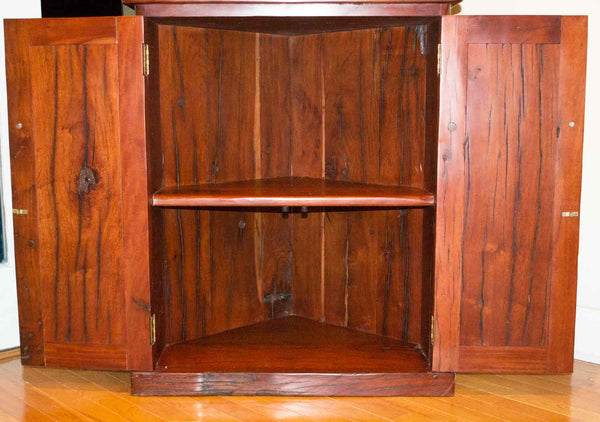 Bottom piece with cabinets open - Antique 'Corner Bookcase' Hand Made Red Jarrah Wood Bookcase from Zimbabwe