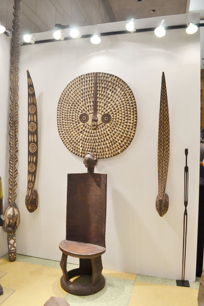 On left side, On Display at the Harlem Fine Arts Show in NYC: Authentic 'Mossi Tribe Mask' from Burkina Faso Made in 1958