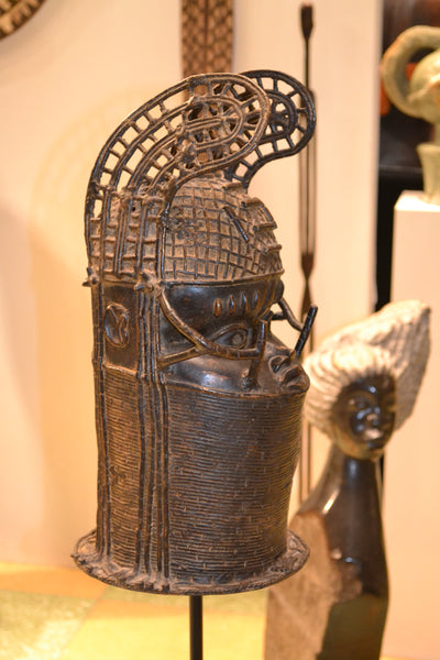 Profile view: On display at the Harbor View Hotel in Martha's Vineyard-Authentic 'Benin King' Carved Bronze Sculpture from Nigeria Made in 1988