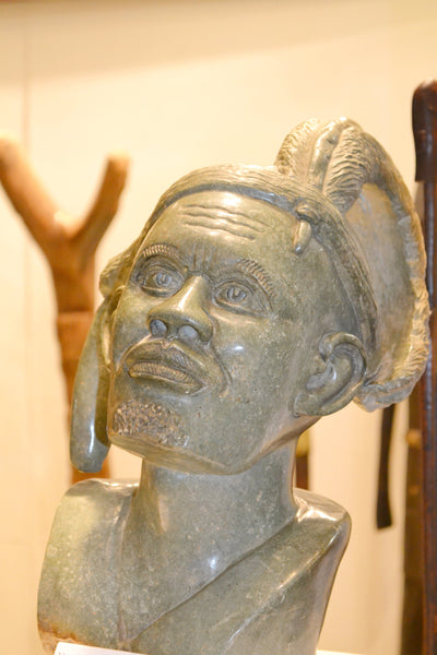 On Display at the Harlem Fine Arts Show in NYC: Hand Carved Stone Sculpture 'The Chief' by Zimbabwean Artist Joseph Tozo Made in 1990