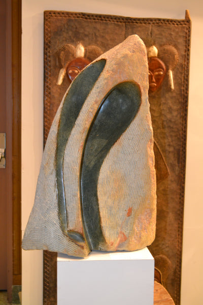 On Display at the Harlem Fine Arts Show in NYC: Hand Carved Stone Sculpture 'Swan' by Zimbabwean Artist Kanse Made in 1990