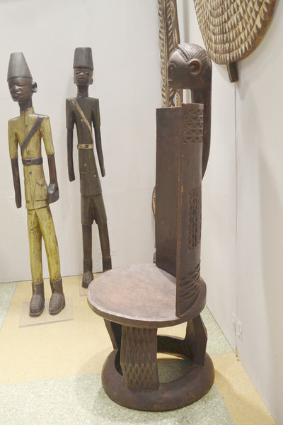 Chair on display at the Harlem Fine Arts Show in NYC: Authentic Wooden Mozambique Chair from Tanzania Made in 1960