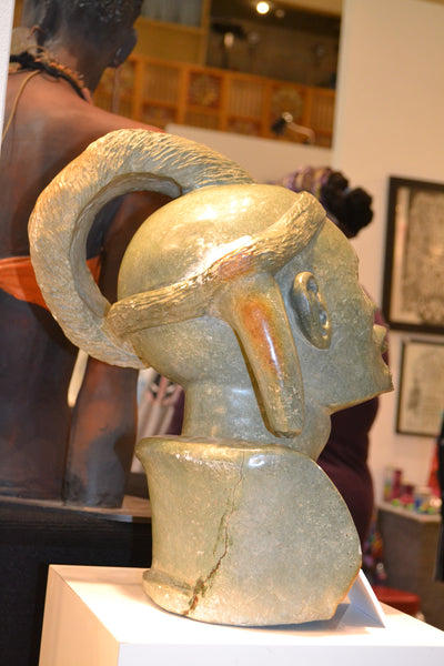 Back view, On Display at the Harlem Fine Arts Show in NYC: Hand Carved Stone Sculpture 'The Chief' by Zimbabwean Artist Joseph Tozo Made in 1990