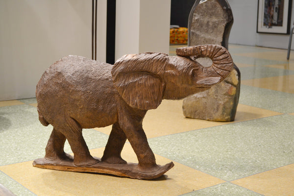 On display at the Harlem Fine Arts Show in NYC: Authentic Hand Carved Wooden 'Elephant' Sculpture from Kenya Made in 1988