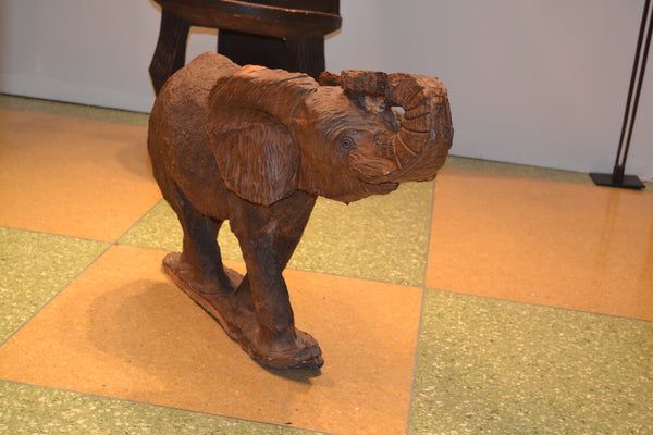 Alternate view, On display at the Harlem Fine Arts Show in NYC: Authentic Hand Carved Wooden 'Elephant' Sculpture from Kenya Made in 1988