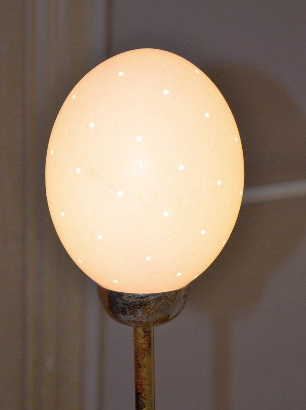 Close up of bulb: Authentic Hand Made Ostrich Egg Table Lamp from South Africa
