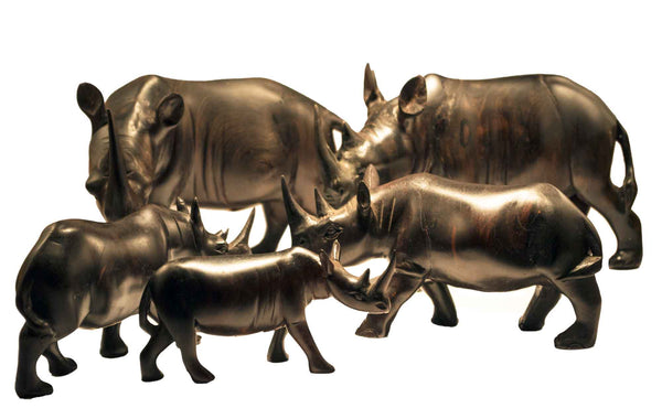 All sizes displayed together (xsmall, small, medium, large, xlarge): Authentic Vintage Hand Carved Black Wood 'Rhino' Figurine from Kenya
