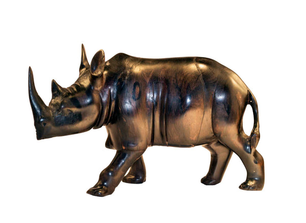 Size medium: Authentic Vintage Hand Carved Black Wood 'Rhino' Figurine from Kenya
