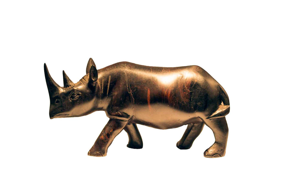 Vintage One of a Kind Hand Carved Black Wood Rhino Figurine