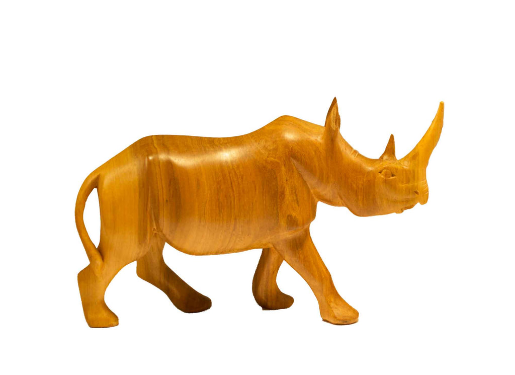 Size medium: Authentic Vintage Hand Carved Teak Wood 'Rhino' Figurine from Kenya