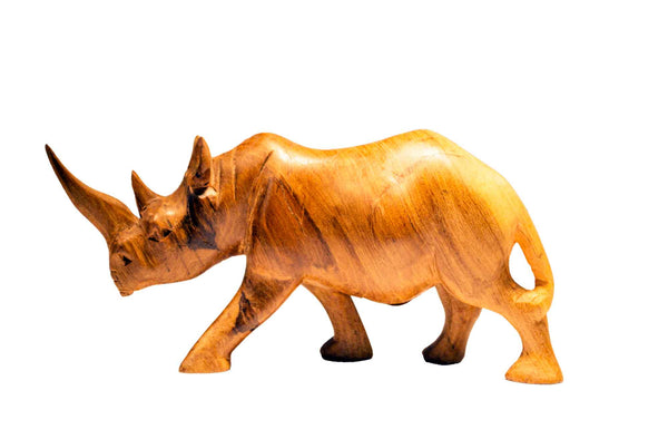 Size small: Authentic Vintage Hand Carved Teak Wood 'Rhino' Figurine from Kenya