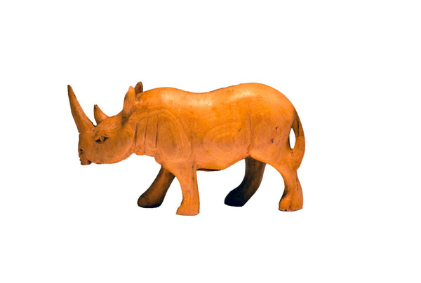 Vintage One of a Kind Hand Carved Teak Wood Rhino Figurine