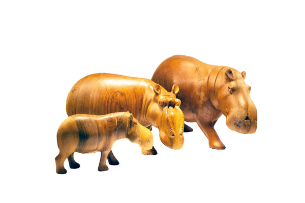 All sizes (small, medium, large) displayed together: Authentic Vintage Hand Carved Teak Wood 'Hippo' Figurine from Kenya