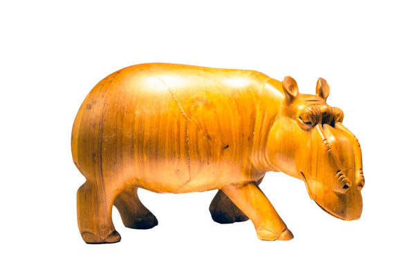 Size large: Authentic Vintage Hand Carved Teak Wood 'Hippo' Figurine from Kenya