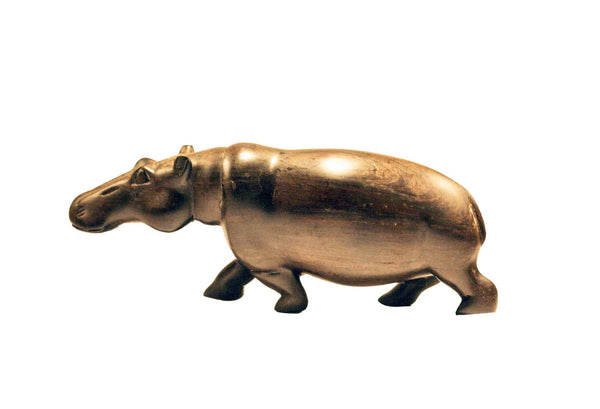 Vintage One of a Kind Hand Carved Black Wood Hippo Figurine