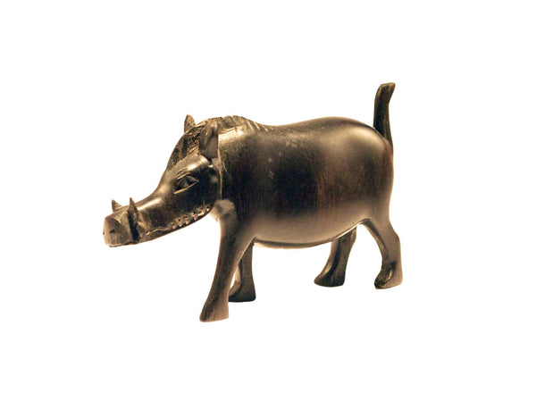 Size small: Authentic Vintage Hand Carved Black Wood 'Wild Hog' Figurine from Kenya