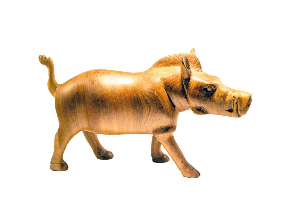 Size small: Authentic Vintage Hand Carved Teak Wood 'Wild Hog' Figurine from Kenya