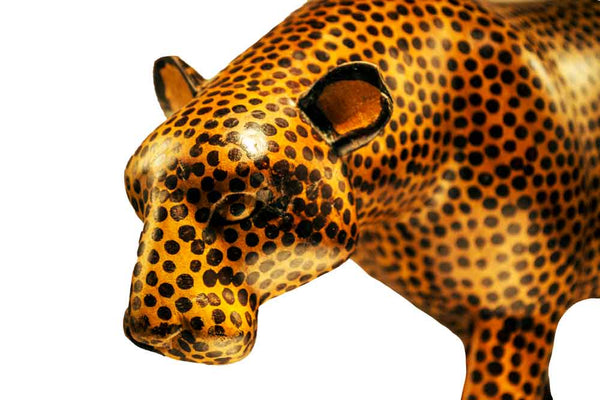 Vintage One of a Kind Hand Carved Teak Wood Cheetah Figurine