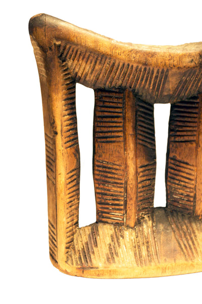 Close up view: Authentic Vintage Hand Carved Wooden 'Head Rest' from Mali Made in 1963