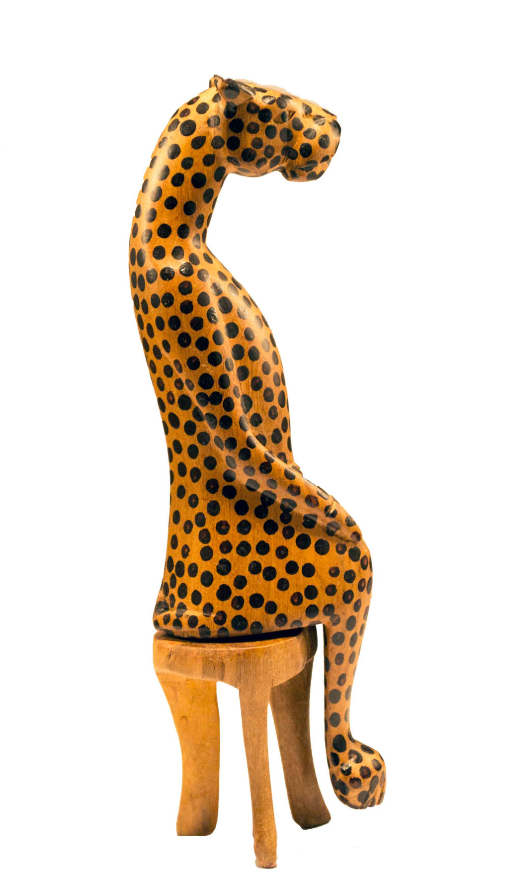 Cheetah, Profile view: Authentic Vintage Hand Carved & Hand Painted Teak Wood 'Animal Party' Figurine from Kenya