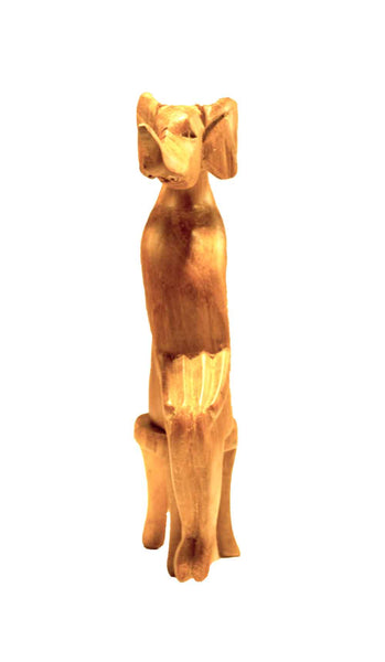 Elephant, Front view: Authentic Vintage Hand Carved & Hand Painted Teak Wood 'Animal Party' Figurine from Kenya