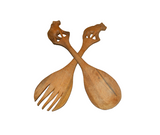 Lion, Alternate view: Authentic Vintage Hand Carved Teak Wood 'Fork and Spoon' from Kenya