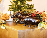 Size medium and large displayed together: Authentic Vintage Hand Carved Black Wood 'Rhino' Figurine from Kenya