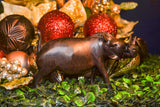 Vintage One of a Kind Hand Carved Black Wood Wild Hog Figurine