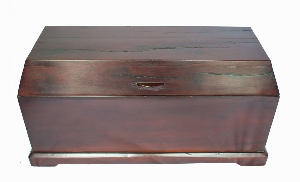 View from top of trunk: Antique Hand Made Red Jarrah Wood Trunk from Zimbabwe
