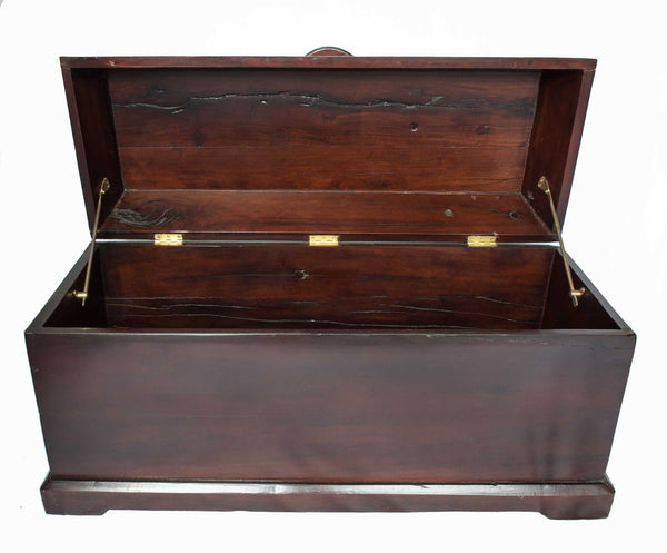 Trunk opened: Antique Hand Made Red Jarrah Wood Trunk from Zimbabwe