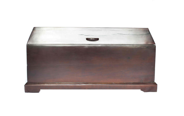 Front view: Antique Hand Made Red Jarrah Wood Trunk from Zimbabwe