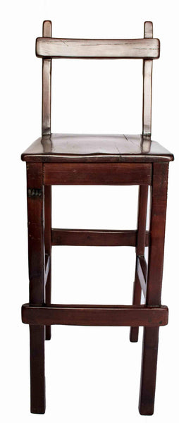 Front view: Antique Hand Made Red Jarrah Wood Bar Stool from Zimbabwe
