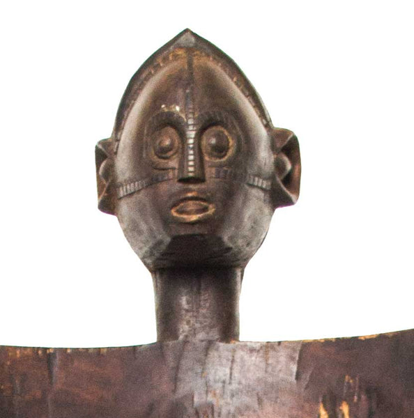 Close up of face:  Authentic Wooden Mozambique Chair from Tanzania Made in 1960