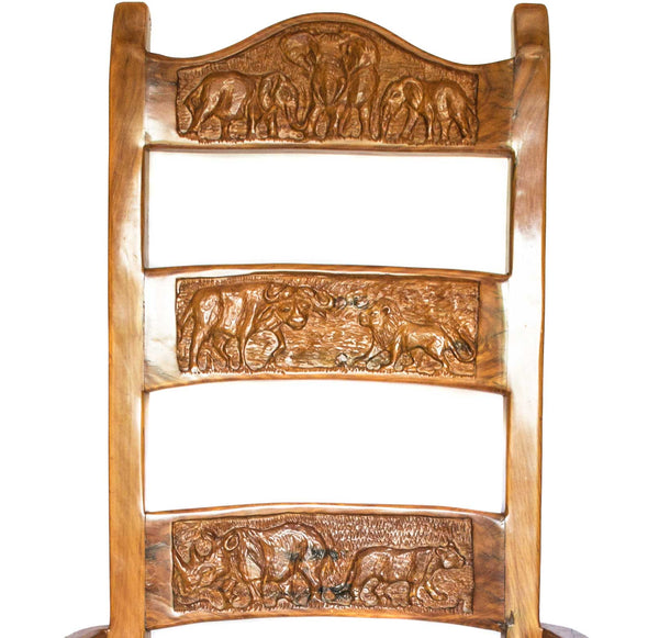 Close up of animal carvings: Antique Hand Made Yellow Jarrah Wood 'King Throne' from Zimbabwe