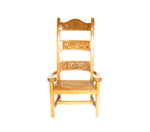 Frpnt view: Antique Hand Made Yellow Jarrah Wood 'King Throne' from Zimbabwe