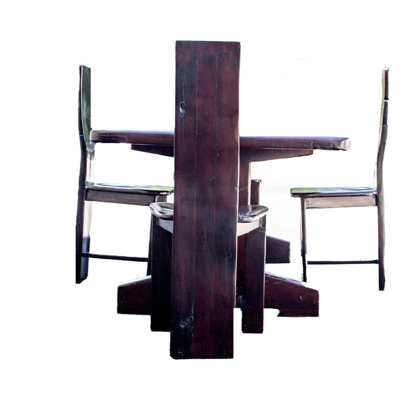 Side view: Antique Hand Made Red Jarrah Dining Table and Chairs Desk from Zimbabwe
