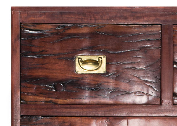Close up of drawer: Antique Hand Made Red Jarrah Wood Dresser from Zimbabwe