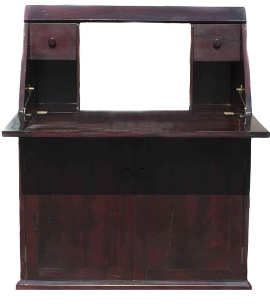 Piece opened up to become a functional desk: Antique Hand Made Red Jarrah Wood 'Convertible Desk' from Zimbabwe
