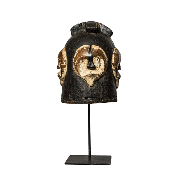 One of a kind African Fine Art: Authentic 'Helmet Mask' from the Cameroon Made in 1963. This lightweight mask can be easily mounted to the wall or mounted on a custom made mask stand that is included with your purchase.