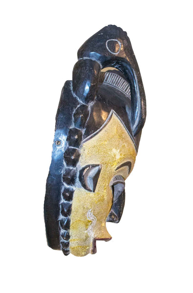 Profile view: Authentic 'Guro Mask' from the Ivory Coast Made in 1988