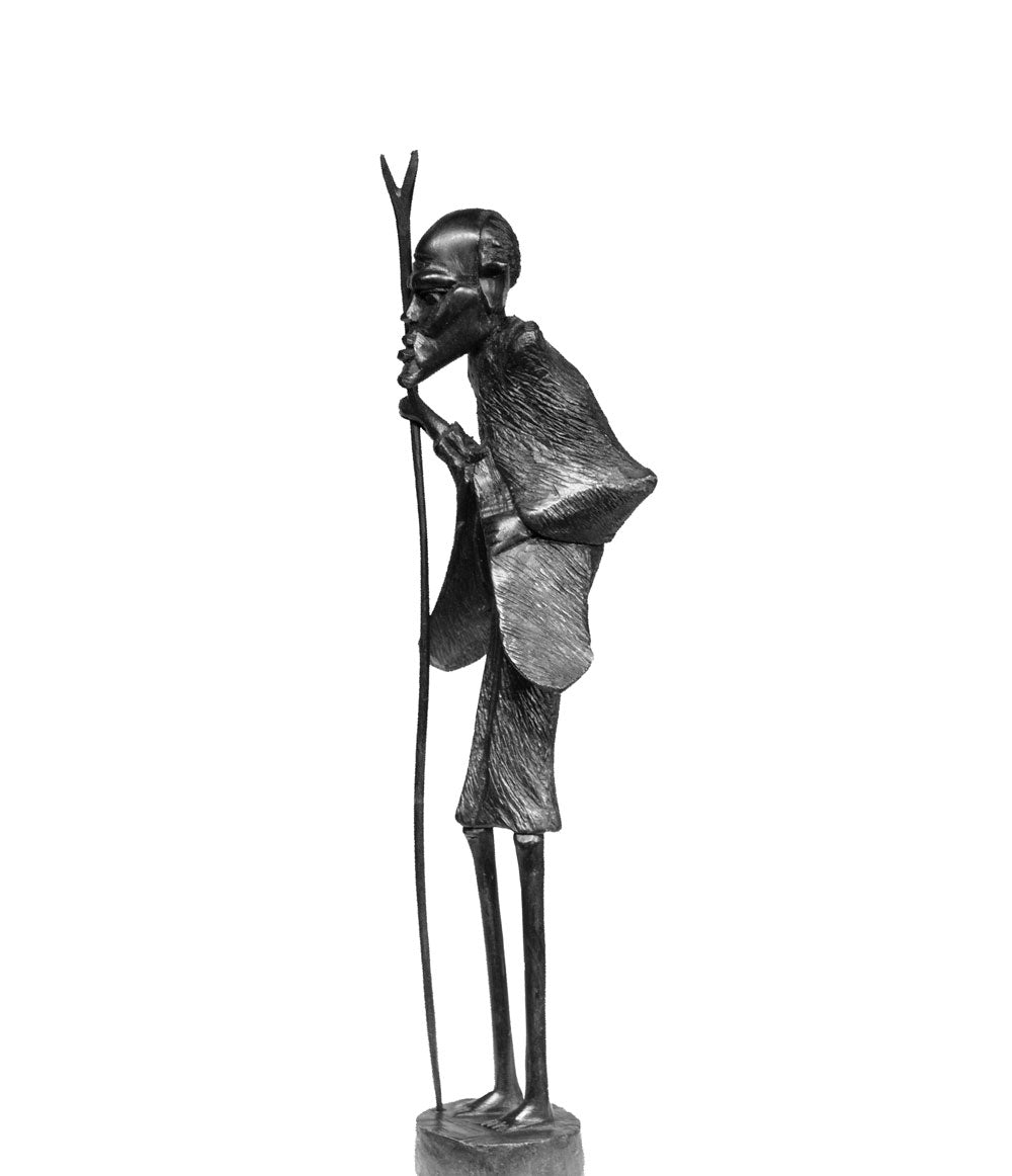 Masaai Ebony Wood Carving 'Masaai Old Man' from Kenya Made in 1988 by Artist Nelson